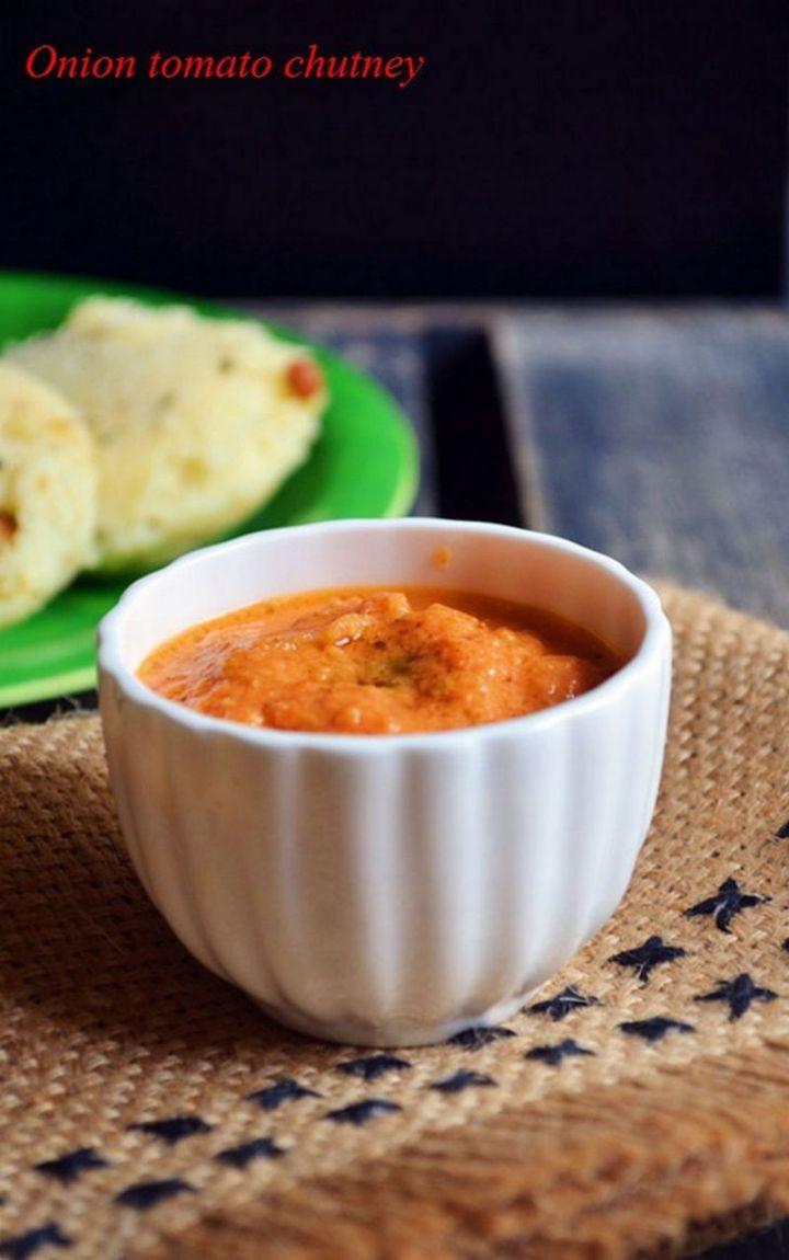 49 Indian Side Dishes - Onion Tomato Chutney.