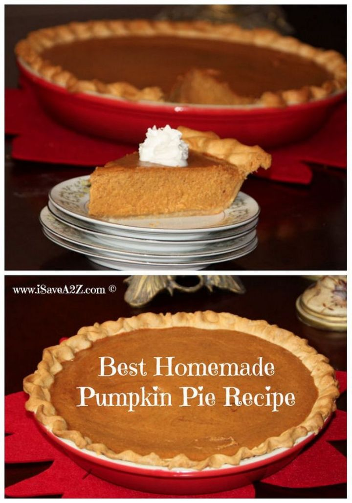 27 Pumpkin Pie Recipes - Homemade Pumpkin Pie.