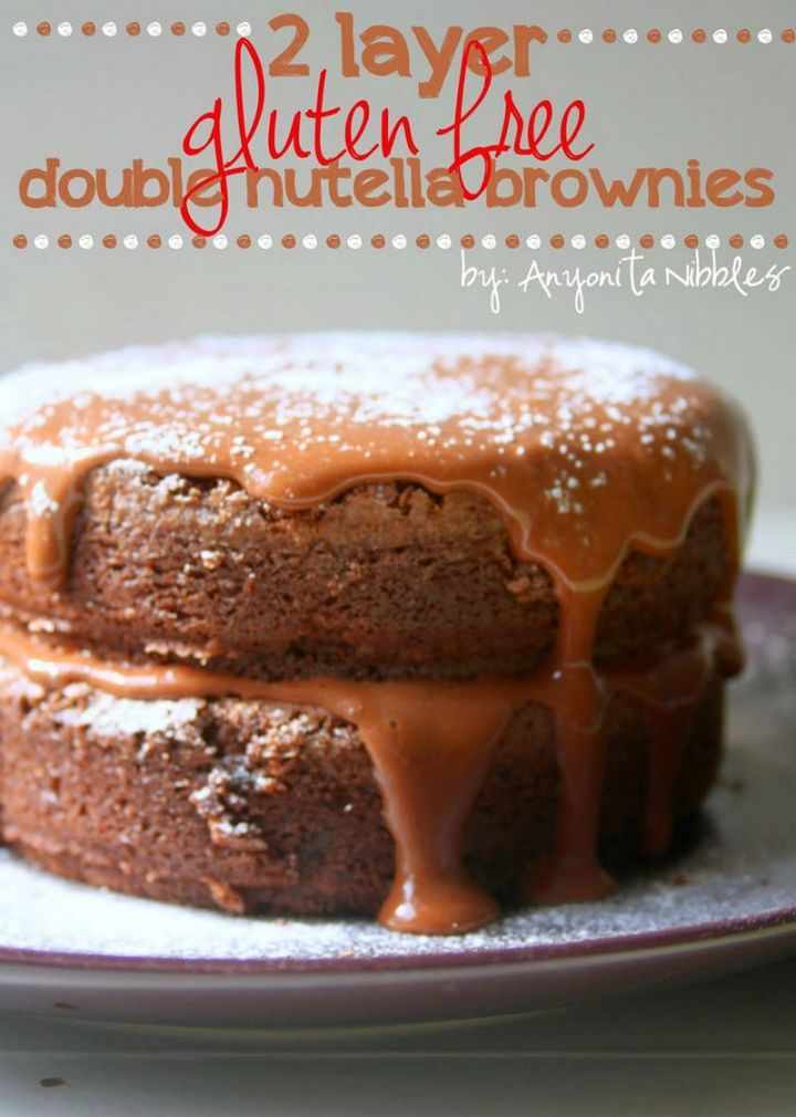 7 easy brownie recipes - Two Layer Gluten-Free Double Nutella Brownies.