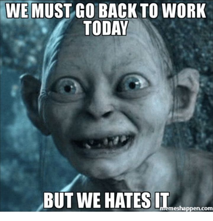 """21 Back to Work Memes - """"We must go back to work today but we hates it."""""""