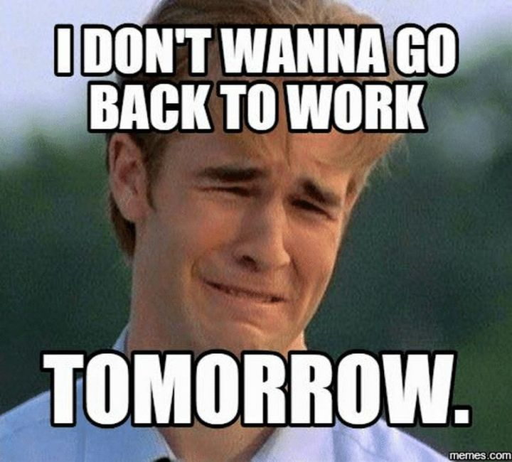 """21 Back to Work Memes - """"I don't wanna go back to work tomorrow."""""""