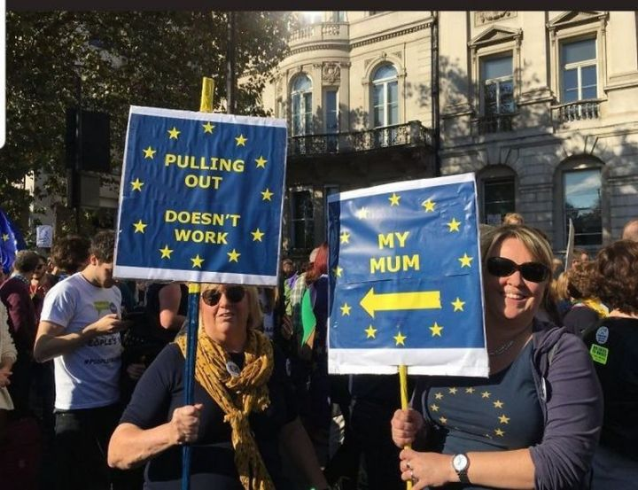 "23 Funny Anti-Brexit Signs - ""Pulling out doesn't work. <- My mum."""