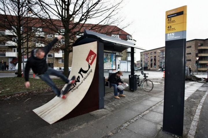 27 Awesome Billboards - Quicksilver promotes their own creativity with this billboard that also doubles as a skateboard ramp.