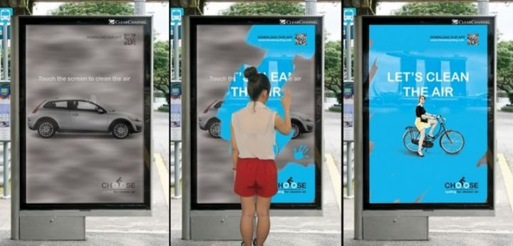 27 Awesome Billboards - This interactive poster lets users clean the air with their hands and reveals how using bicycles instead of automobiles would help.