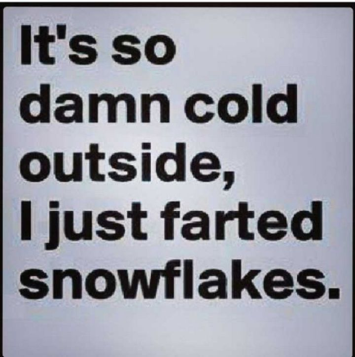 "55 Funny Winter Memes - ""It's so damn cold outside, I just farted snowflakes."""