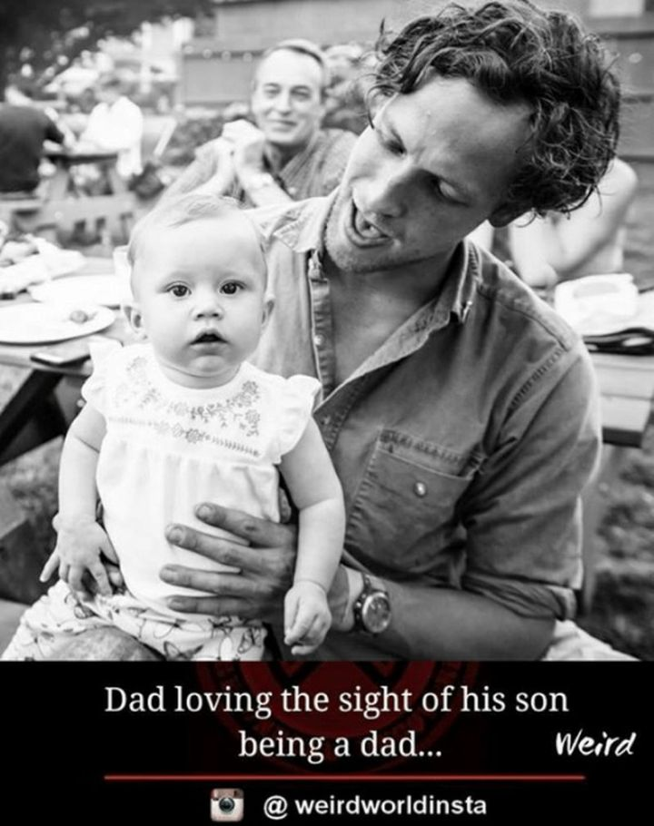 """71 Funny Dad Memes - """"Dad loving the sight of his son being a dad..."""""""