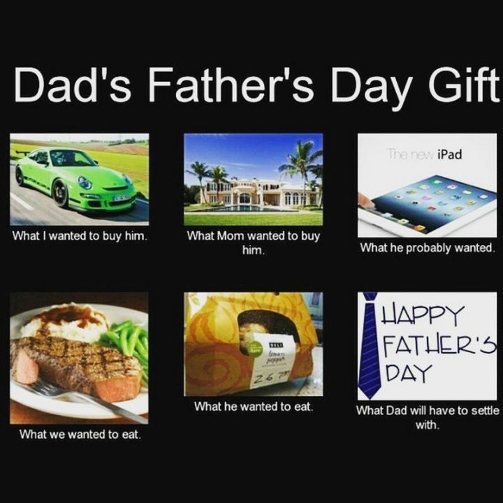"""71 Funny Dad Memes - """"Dad's Father's Day Gift: What I wanted to buy him. What mom wanted to buy him. What he probably wanted. What we wanted to eat. What he wanted to eat. What dad will have to settle with."""""""