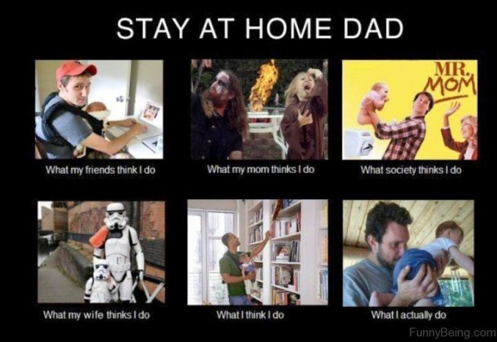 """71 Funny Dad Memes - """"Stay at home dad: What my friends think I do. What my mom thinks I do. What society thinks I do. What my wife thinks I do. What I think I do. What I actually do."""""""