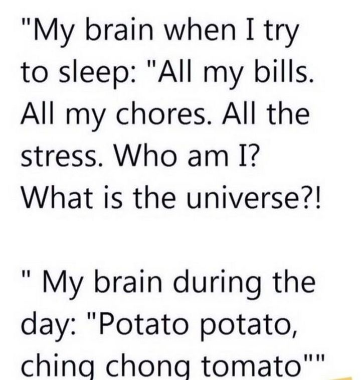 """101 Funny Mom Memes - """"My brain when I try to sleep: All my bills. All my chores. All the stress. Who am I? What is the universe? My brain during the day: Potato potato, ching chong tomato."""""""
