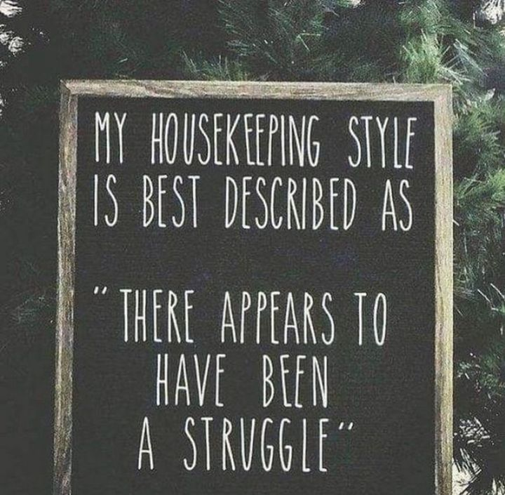 """101 Funny Mom Memes - """"My housekeeping style is best described as 'there appears to have been a struggle'."""""""