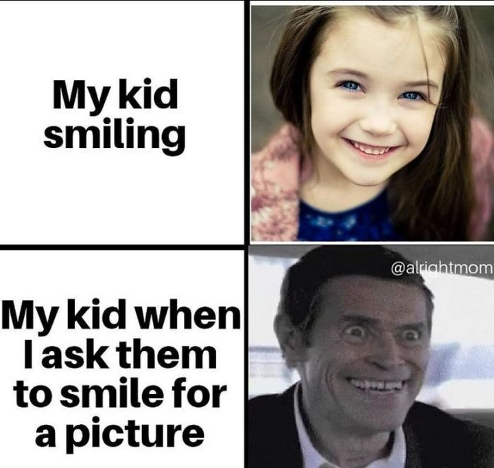 """101 Funny Mom Memes - """"My kid smiling. My kid when I ask them to smile for a picture."""""""