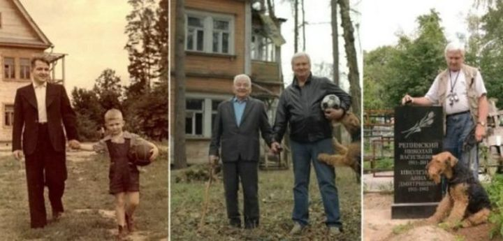 """35 Then and now pictures - """"Powerful then and now pictures of a father & son (1949, 2009, & 2011)."""""""
