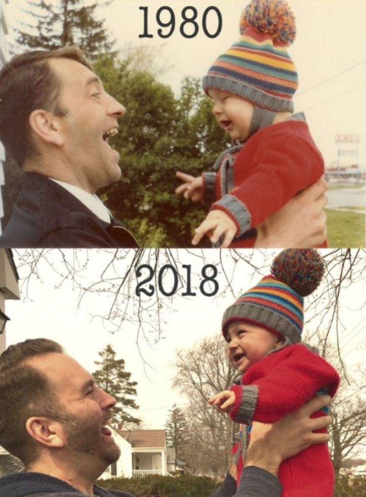 """35 Then and now pictures - """"My father and I in 1980, and my son and I in 2018."""""""
