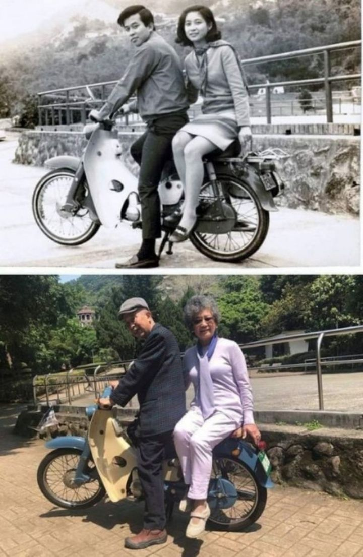 """35 Then and now pictures - """"1967-2018 Same bike, same couple, same spot."""""""