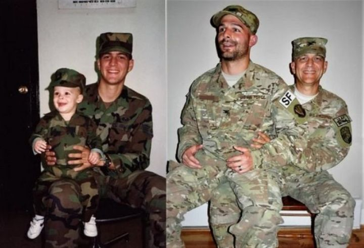 """35 Then and now pictures - """"Nearly 30 years elapsed; just before my retirement, we re-created my favorite photo of my oldest son & I…"""""""