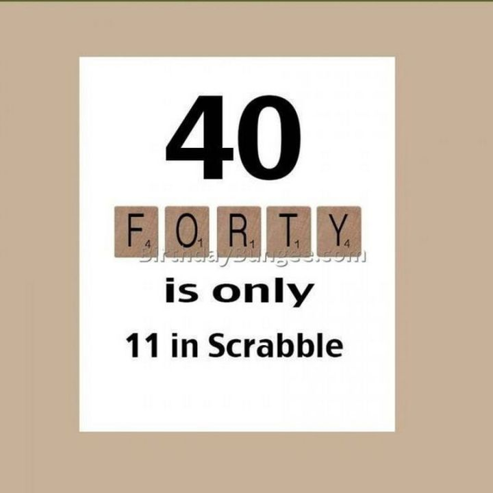"101 Happy 40th Birthday Memes - ""Forty is only 11 in Scrabble."""