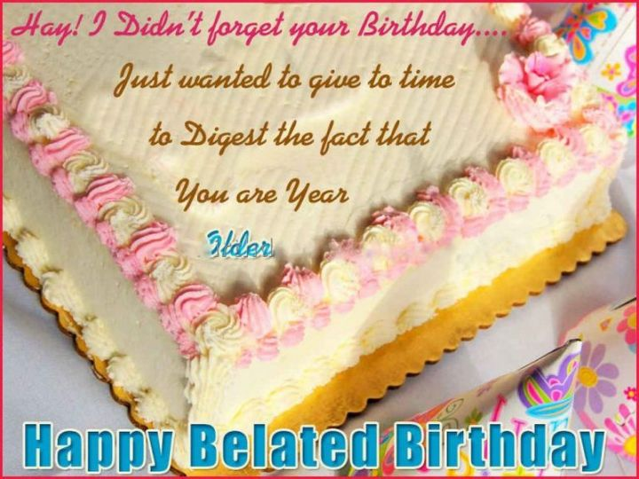 """85 Happy Belated Birthday Memes - """"Hay! I didn't forget your birthday...Just wanted to give to time to digest the fact that you are year older. Happy Belated Birthday meme."""""""