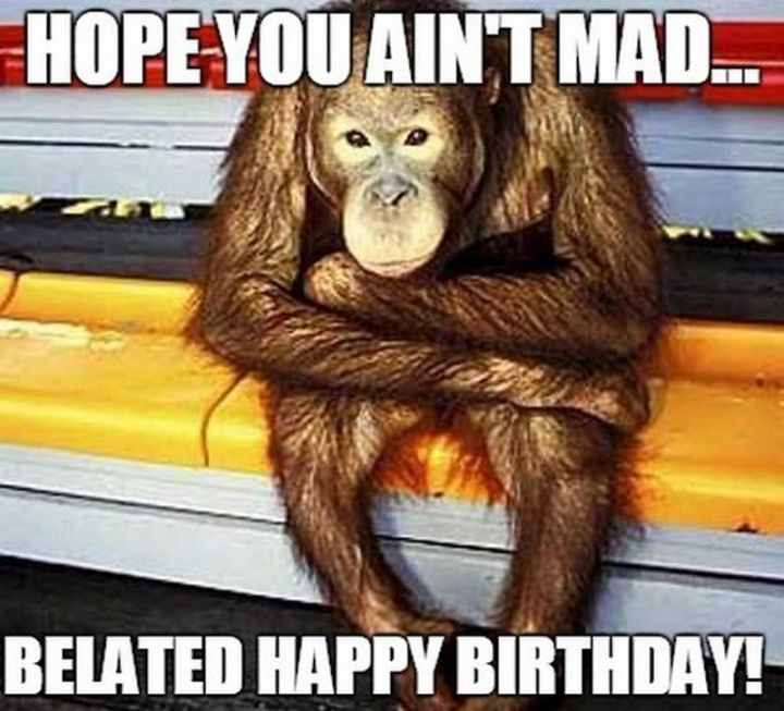 """85 Happy Belated Birthday Memes - """"Hope you ain't mad...Belated happy birthday!"""""""
