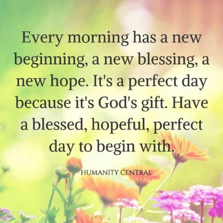 """75 Good Morning Quotes - """"Every morning has a new beginning, a new blessing, a new hope. It's a perfect day because it's God's gift. Have a blessed, hopeful, perfect day to begin with."""" - Anonymous"""
