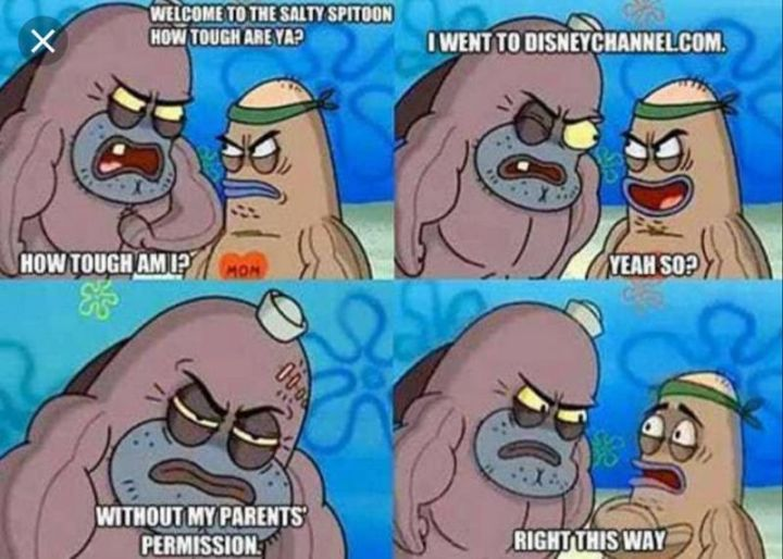 "Funny SpongeBob Memes - ""Welcome to the Salty Spitoon. How tough are ya? How tough am I? I went to disneychannel.com. Yeah so? Without my parents' permission. Right, this way."""