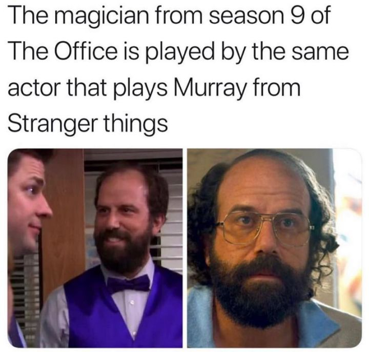 """57 Funny 'the Office' Memes - """"The magician from season 9 of 'The Office' is played by the same actor that plays Murray from 'Stranger Things'."""""""
