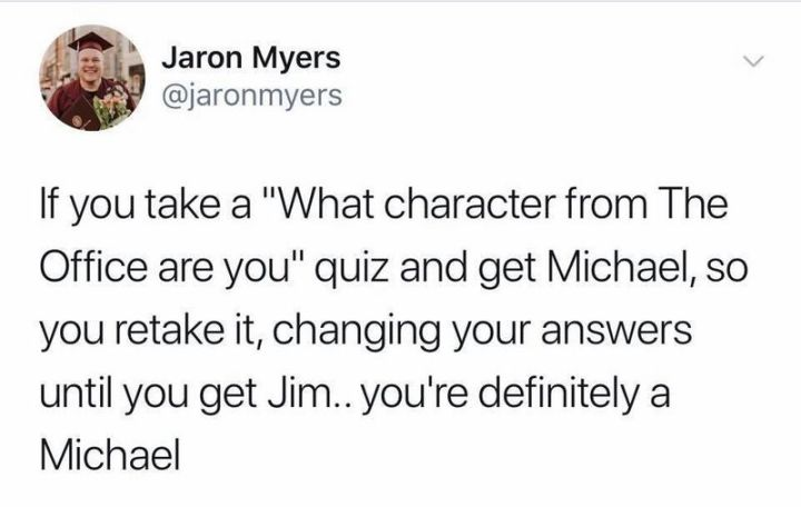 """57 Funny 'the Office' Memes - """"If you take a 'What character from The Office are you' quiz and get Michael, so you retake it, changing your answers until you get Jim...you're definitely Michael."""""""