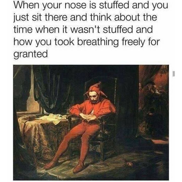 "67 Hilarious Memes - ""When your nose is stuffed and you just sit there and think about the time when it wasn't stuffed and how you took breathing freely for granted."""