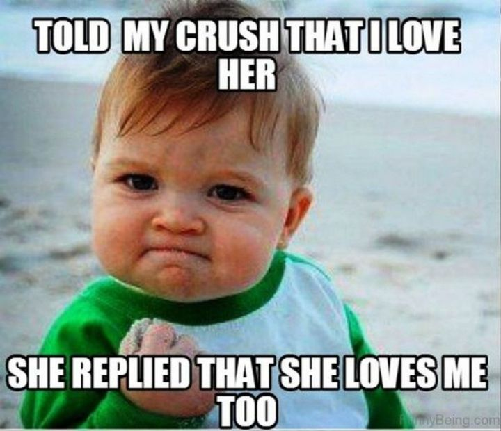 "55 Love Memes - ""Told my crush that I love her. She replied that she loves me too."""