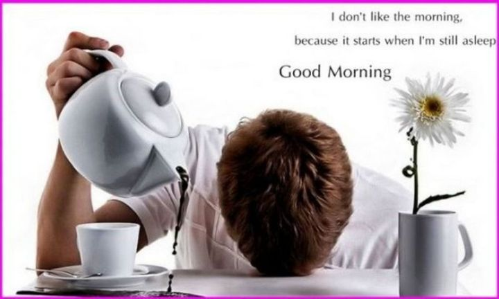 "101 Funny Good Morning Memes - ""I don't like the morning, because it starts when I'm still asleep. Good morning."""