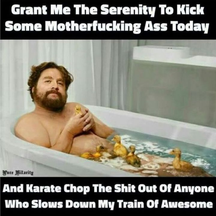 "101 Funny Good Morning Memes - ""Grant me the serenity to kick some motherf***ing @$$ today and karate chop the s**t out of anyone who slows down my train of awesome."""
