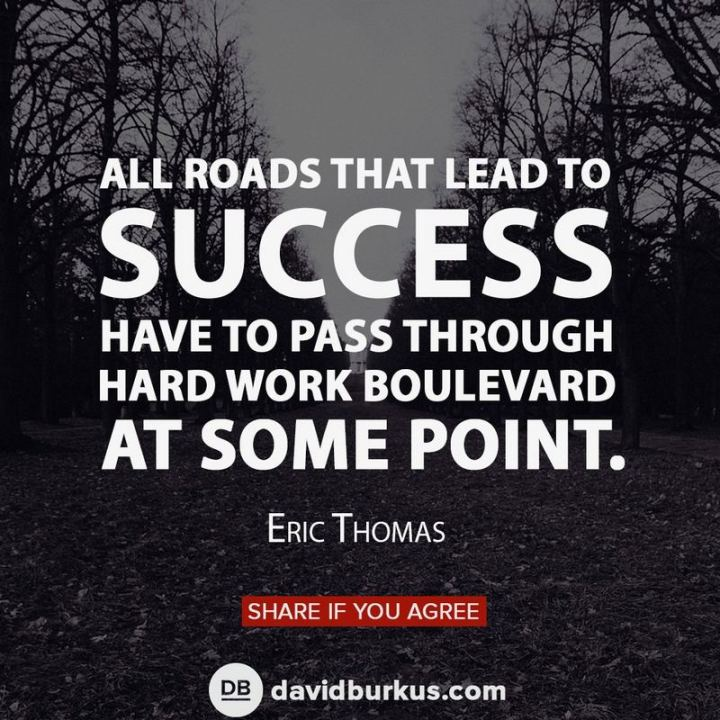 "51 Hard Work Quotes - ""All roads that lead to success have to pass through hard work boulevard at some point."" - Eric Thomas"
