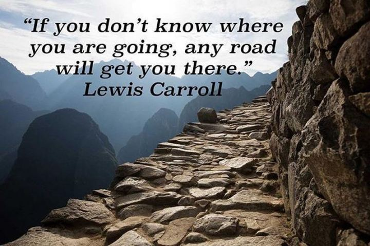 "61 Life Quotes with Beautiful Images - ""If you don't know where you are going, any road will get you there."" - Lewis Carroll"