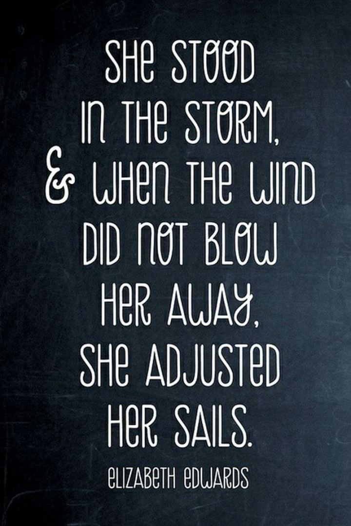 """59 Positive Memes - """"She stood in the storm, and when the wind did not blow her away, she adjusted her sails."""" - Elizabeth Edwards"""