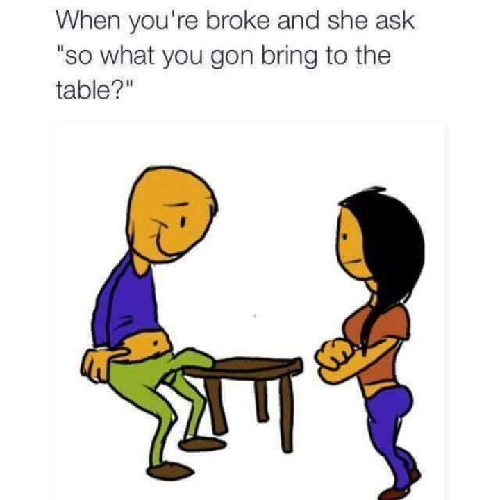 "69 Sexy Adult Memes - ""When you're broke and she asks 'so what you gon bring to the table?'"""