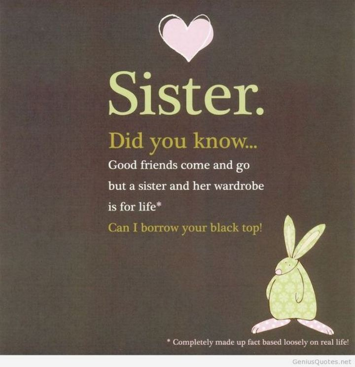"91 Sister Birthday Memes - ""Sister. Did you know...Good friends come and go but a sister and her wardrobe are for life. Can I borrow your black top!"""