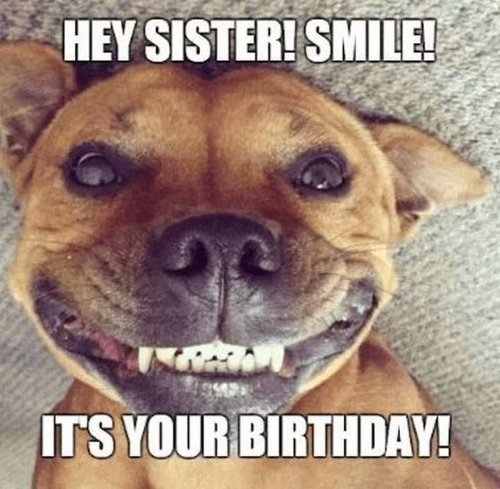 "91 Sister Birthday Memes - ""Hey, sister! Smile! It's your birthday!"""