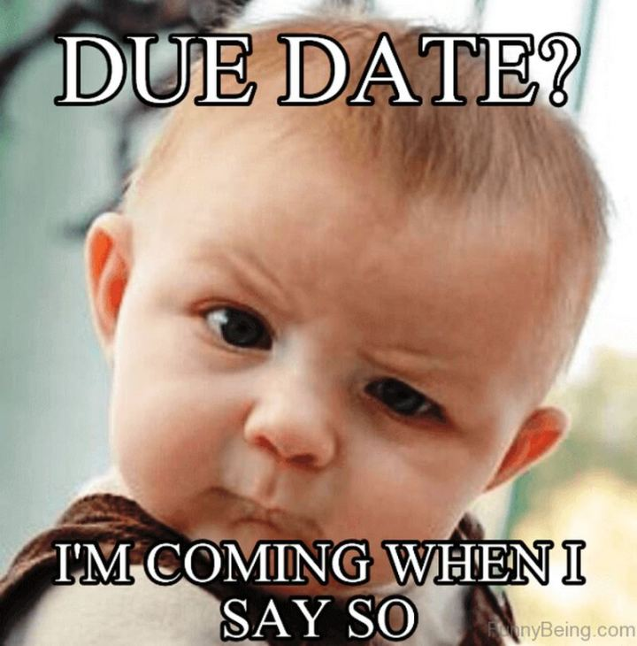 "71 Pregnancy Memes - ""Due date? I'm coming when I say so."""