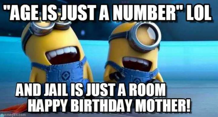 """101 Happy Birthday Mom Memes - """"'Age is just a number' LOL and jail is just a room. Happy birthday, mother!"""""""