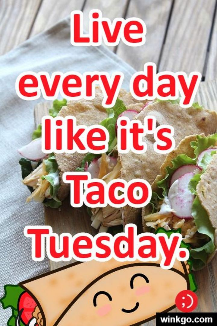 "55 Tuesday Quotes - ""Live every day like it's Taco Tuesday."" - Unknown"