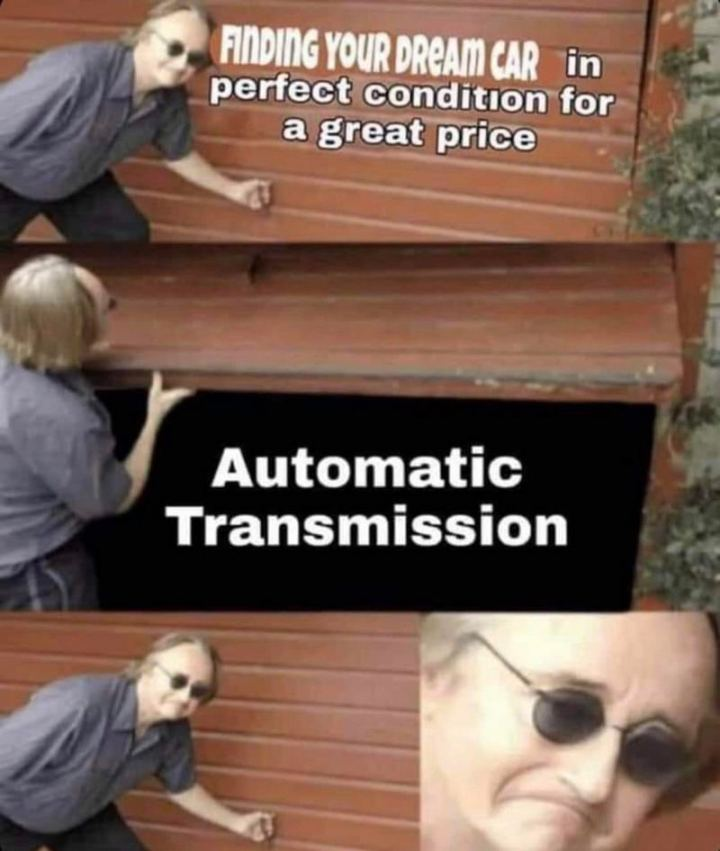 "85 Car Memes - ""Finding your dream car in perfect condition for a great price but finding out it's an automatic transmission."""
