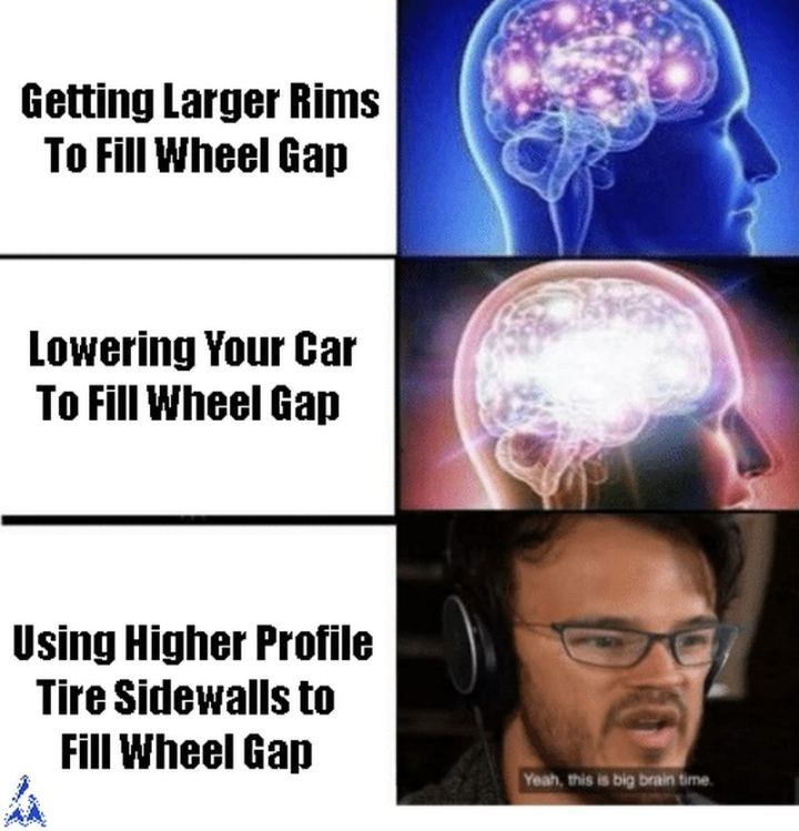 "85 Car Memes - ""Getting larger rims to fill the wheel gap. Lowering your car to fill the wheel gap. Using higher profile tire sidewalls to fill the wheel gap. Yeah, this is big brain time."""