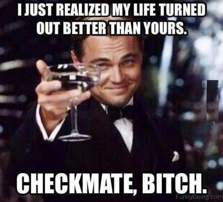 """81 Funny Life Memes - """"I just realized my life turned out better than yours. Checkmate, [censored]."""""""
