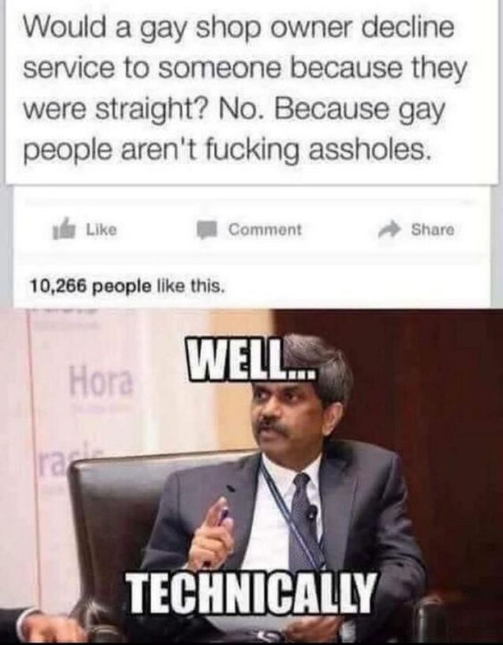 """71 Funny Dirty Memes - """"Would a gay shop owner decline service to someone because they were straight? No. Because gay people aren't [censored]. Well...Technically."""""""
