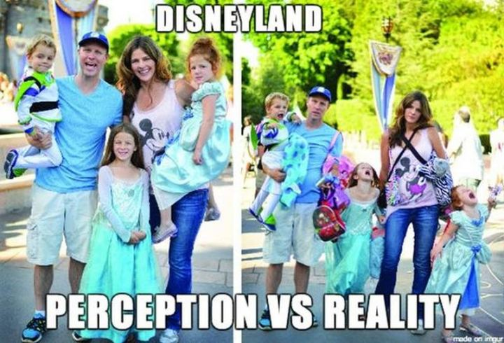 "51 Funny Disney Memes - ""Disneyland: Perception VS Reality."""
