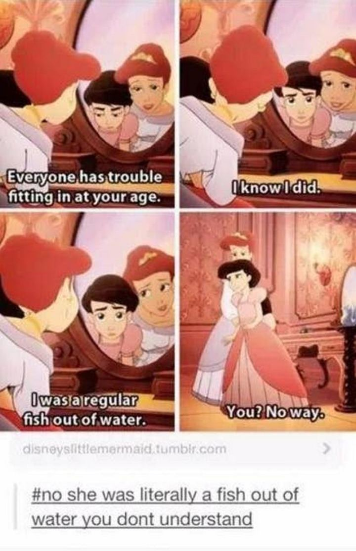"51 Funny Disney Memes - ""Everyone has trouble fitting in at your age. I know I did. I was a regular fish out of water. You? No way. No, she was literally a fish out of water. You don't understand."""