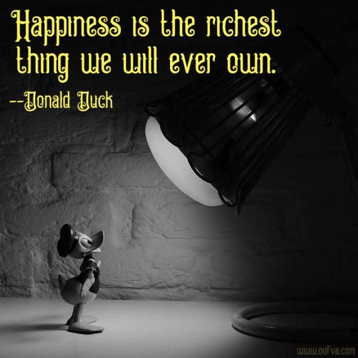 """61 Inspirational Disney Quotes -  """"Happiness is the richest thing we will ever own."""" - Donald Duck"""