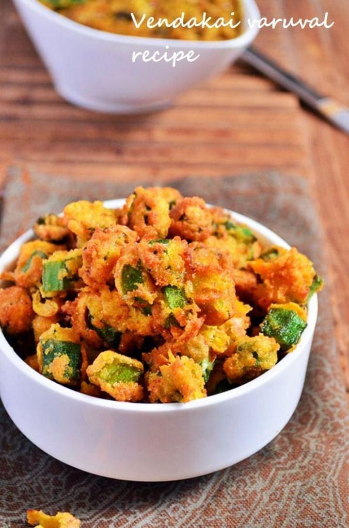 35 Indian Appetizer Recipes - Vendakai Varuval (Okra Fritters).
