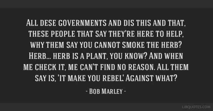 "33 Bob Marley Quotes - ""All dese governments and dis this and that, these people that say they're here to help, why them say you cannot smoke the herb? Herb…herb is a plant, you know? And when me check it, me can't find no reason."" ""All them say is, 'it make you rebel'. Against what?"" - Bob Marley"