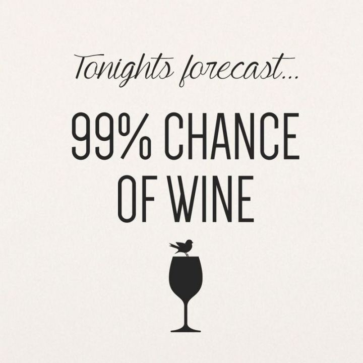 """47 Friday Quotes - """"Tonight's forecast, 99% chance of wine."""" - Anonymous"""