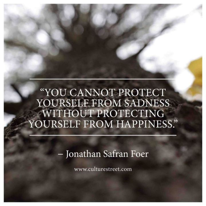 "53 Happy Quotes -  ""You cannot protect yourself from sadness without protecting yourself from happiness."" - Jonathan Safran Foer"